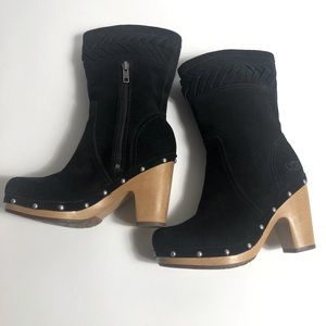 """UGG Blk Suede Mid-Calf Boots Wood 4"""" Heels Sz. 6"""